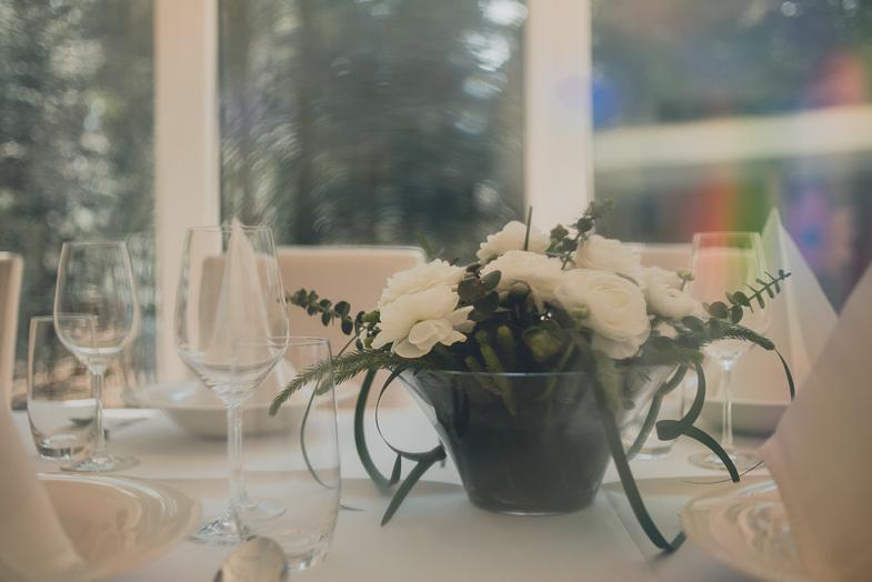 Wedding decoration with floral arrangement.