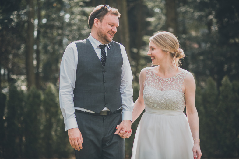 A wedding photo of a bride and groom.