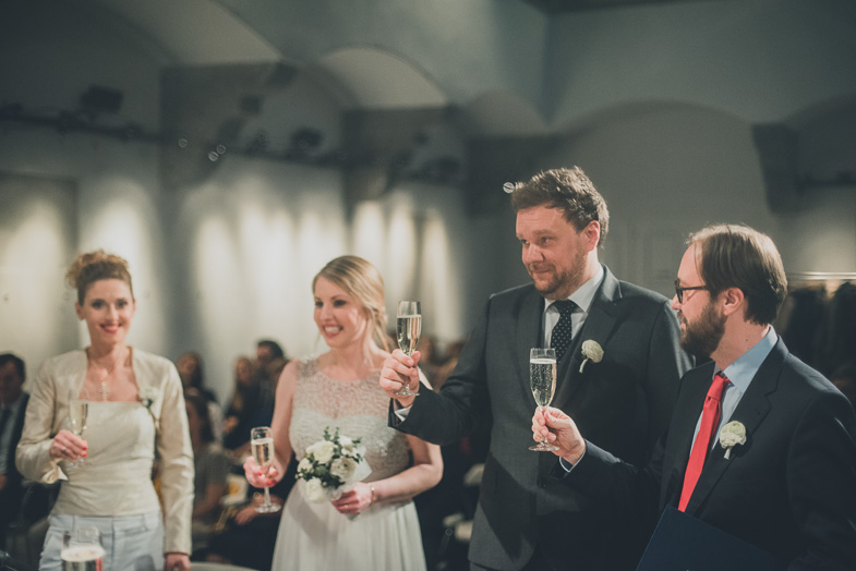 Toast with champagne after the ceremony.