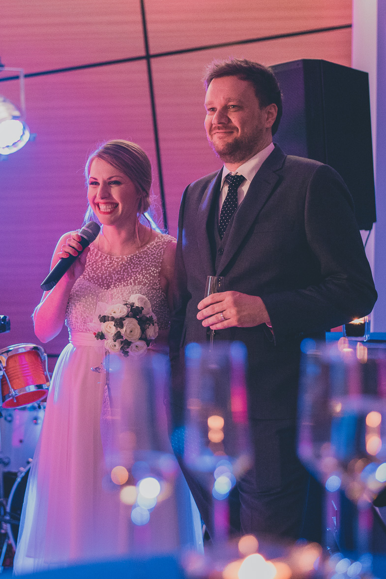 Photo of the bride during the speech.