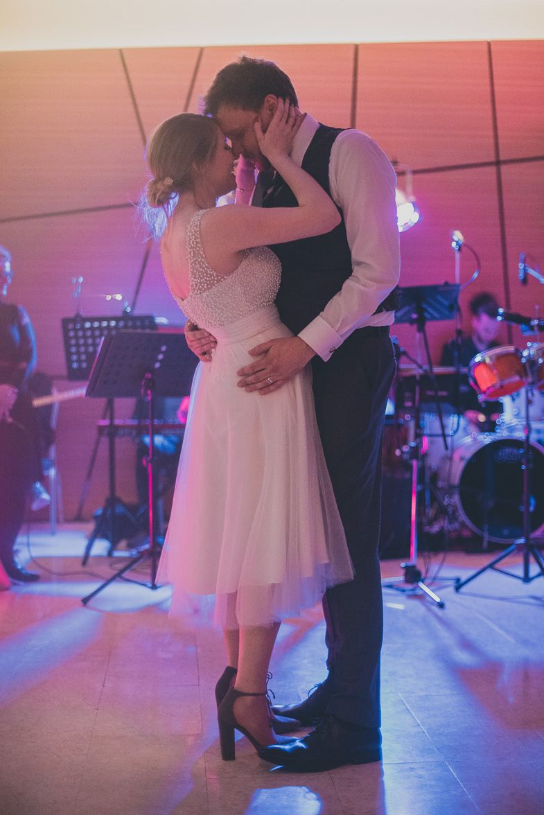Photo of the first dance of newlyweds.