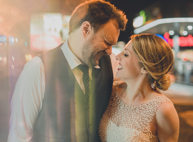 A wedding photo of newlyweds.