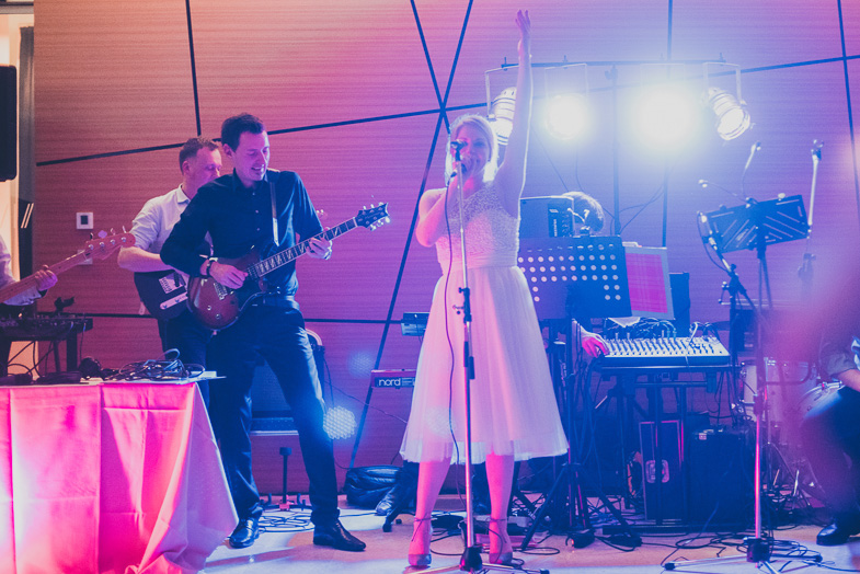 The musical appearance of the bride at the wedding.