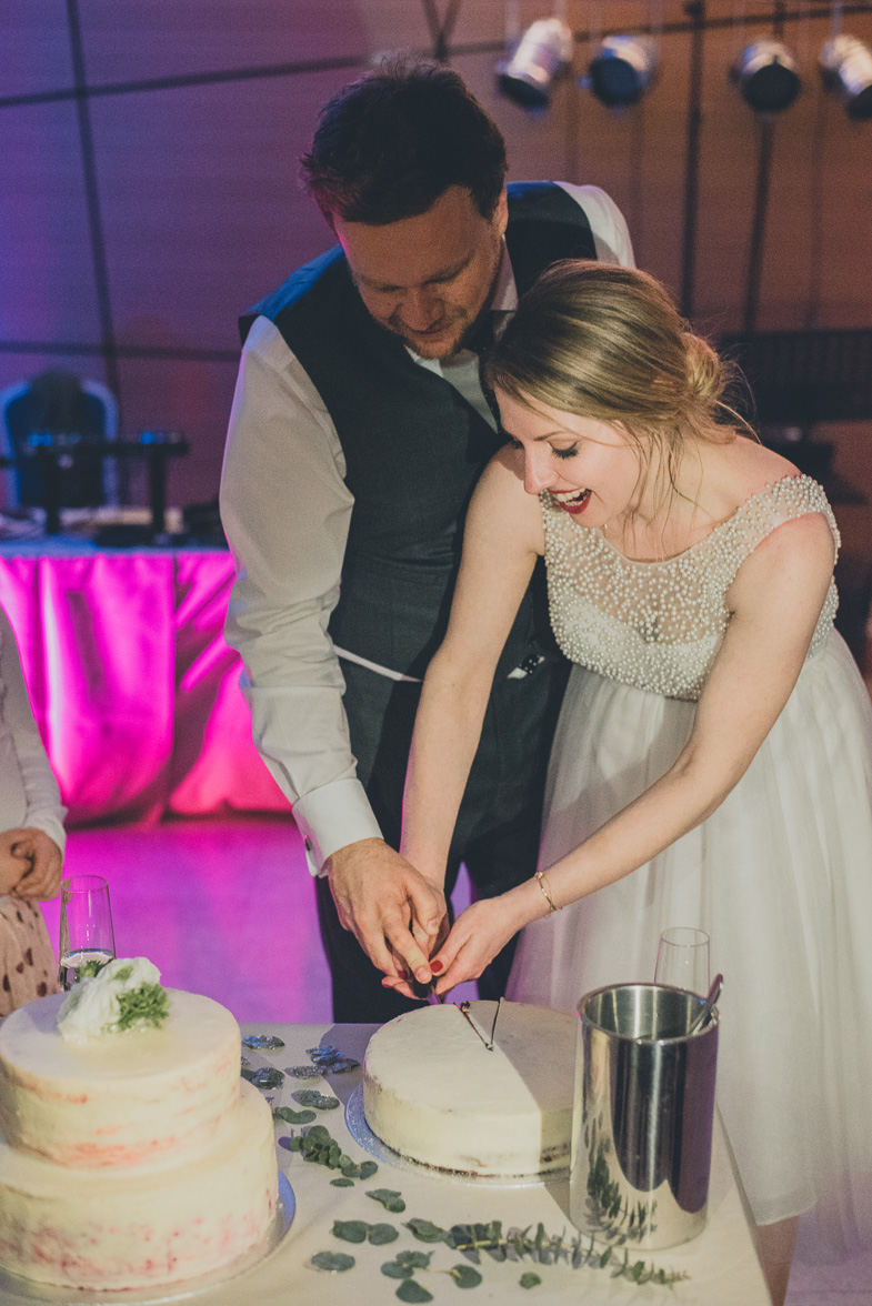 A moment of cutting a wedding cake.