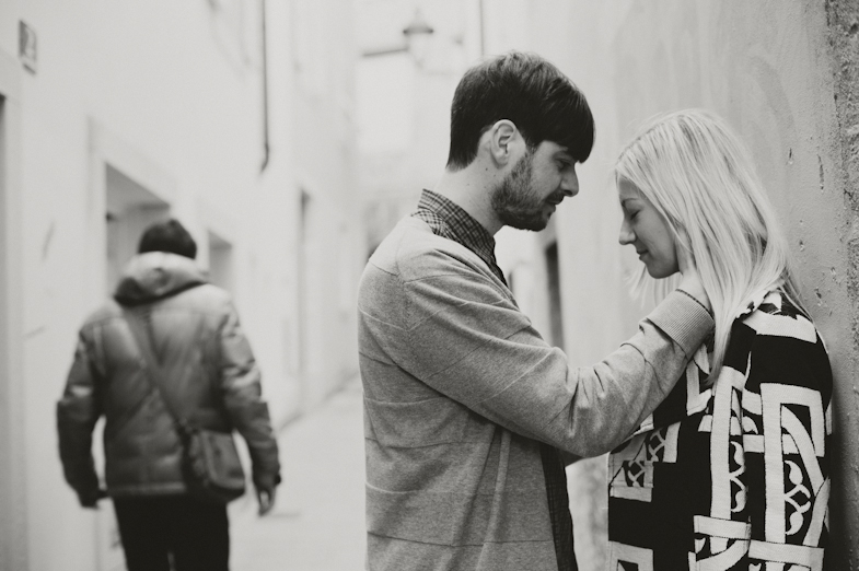 Black and white portrait of a couple.