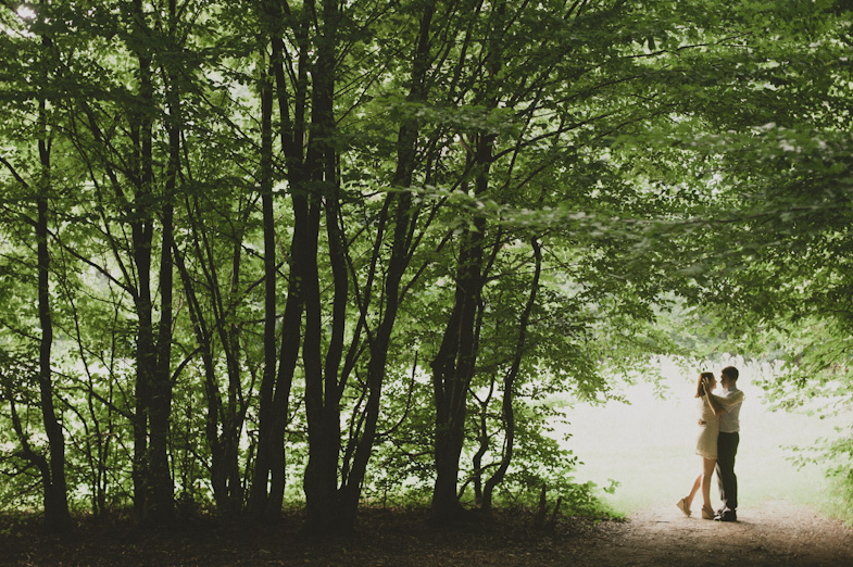 Photo of the forest and the loving couple.