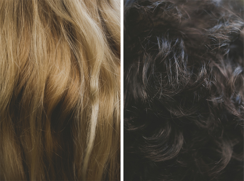 Photography of male and female hair.