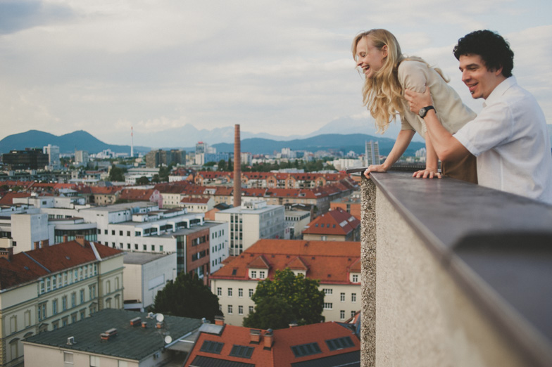 Photographing a couple in the center of Ljubljana.