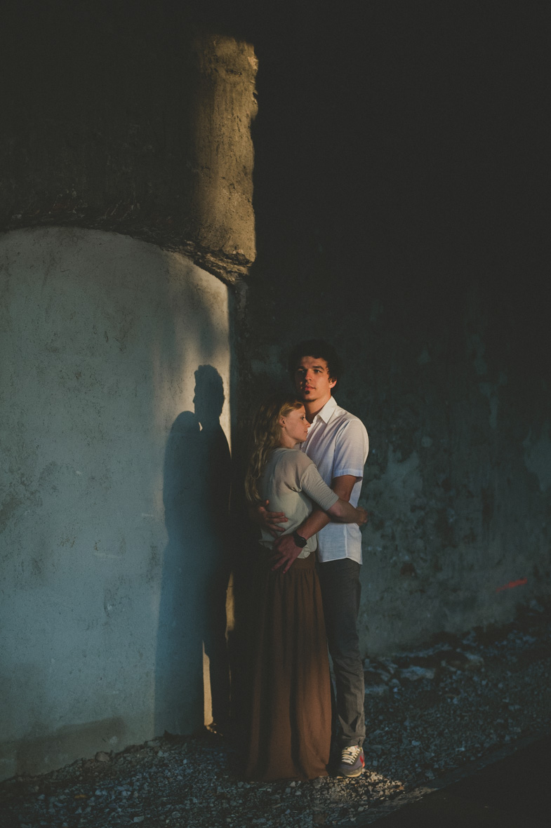 Embraced loving couple.