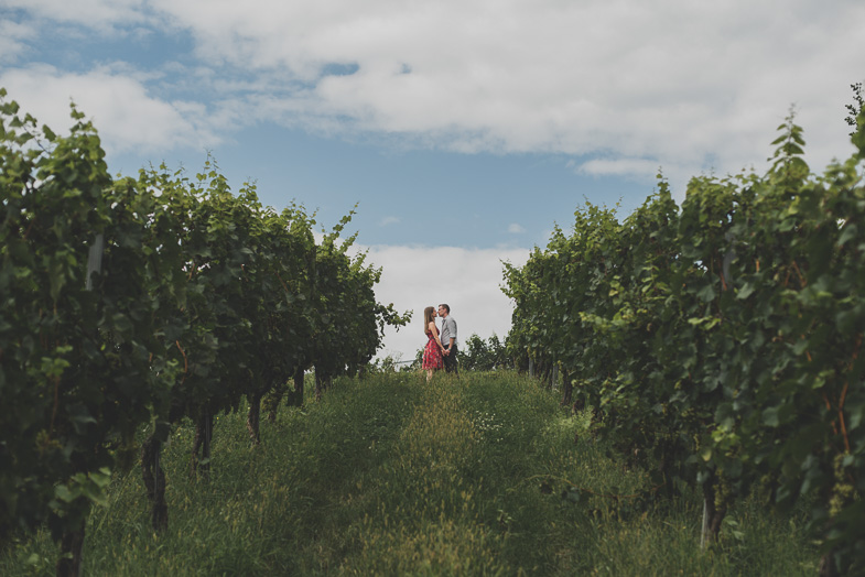 Photo of a loving couple in a vineyard.