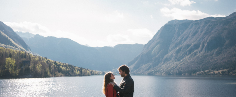 Couple in love in front of Bohinj Lake.