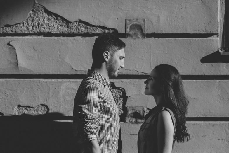 Black and white couple portrait.