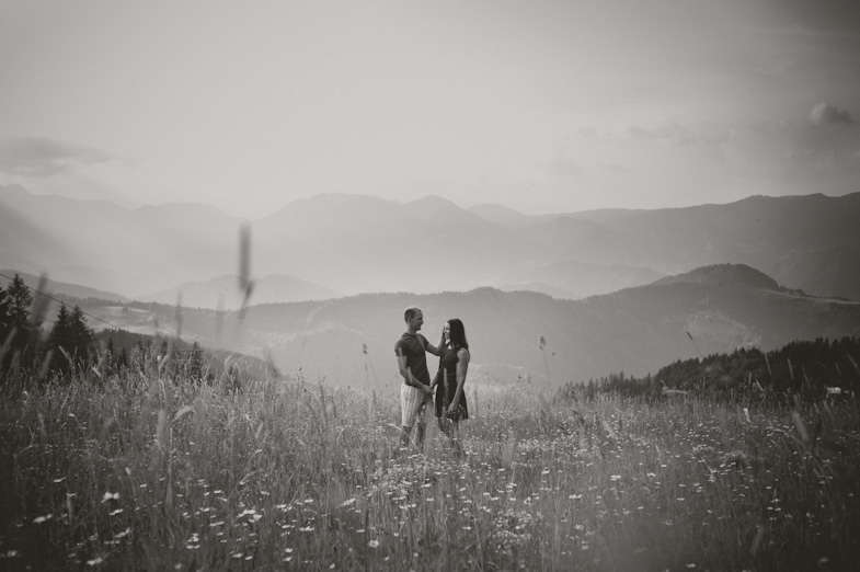 A young couple is preparing for their portrait photography on their wedding by professional wedding photographer.